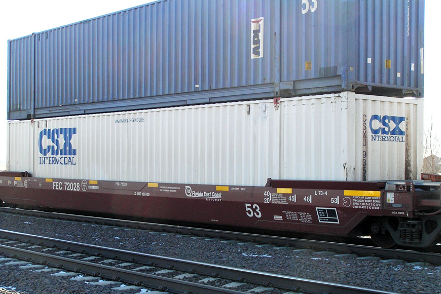 intermodal freight cars are perfect for shipping pallets by rail