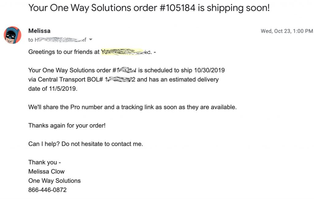 Pallet Order Tracking Email