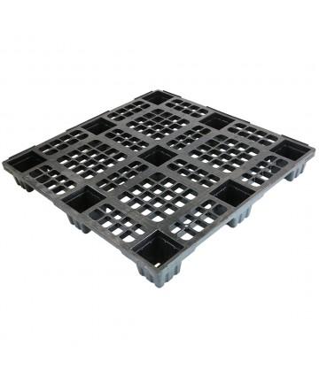 43.3 x 43.3 Nestable Plastic Pallet w/ Safety Lip - Medium Duty - Black - OWS PP-O-4343-NM9 Plasgad PG1111-7 - Repose Top