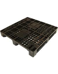 43 x 43 Rackable Stackable Plastic Pallet w/Metal Rods - Black - 3 Runners