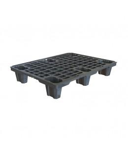 24 x 32 Nestable Plastic Semi Pallet - Black - OWS PP-O-24-NL2 Plasgad DI2209001 PG220 Semi Pallet Black - Repose Top