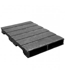 32 x 37 Stackable Solid-Deck Plastic Pallet - Black - ppc-3237-4 OWS PP-S-3237-RC Repose Top