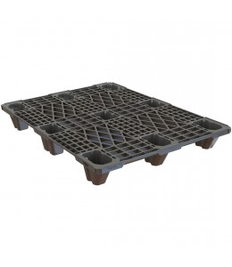 32 x 48 Nestable Euro Pal 3 Plastic Pallet w/ Lip - Black - OWS PP-O-32-N3 Plasgad 805 PLus DIPL89703 - Repose Top