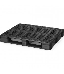 40 x 48 Rackable Stackable Open Deck Plastic Pallet - 3 Runners - Black - Cabka Eco US5 OD-3R OWS PP-O-40-Eco1.3R - Repose Top