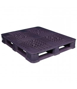 40 x 48 Rackable Ventilated Plastic Pallet - Black - Polymer Solutions DLR Black OWS PP-O-40-R7FM-Black Repose Top