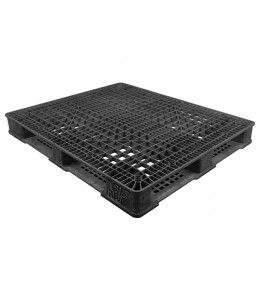 40 x 48 Stackable Fire Retardant Plastic Pallet - Black - Polymer Solutions ProGenic-LD OWS PP-O-40-S4FM-Black Repose Top