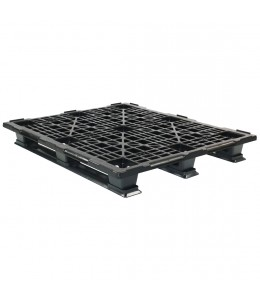 40 x 48 Stackable Mid-Duty 3 Runner Plastic Pallet With Safety Lip - Assembled - Black - OWS PP-O-40-SM7-L - Repose Top