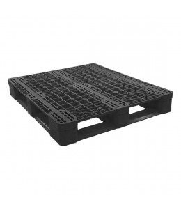 40 x 48 Stackable Rackable Plastic Pallet - Black With Metal Reinforcing Rods- CABKA Eco US5 (OD-6R-M) OWS PP-O-40-ECO1-M repose