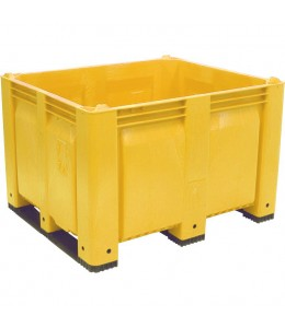 40 x 48 x 31 Solid Wall Container w/ Short Side Runners - Yellow - OWS CP-S-40-F-SS-Yellow - Bottom
