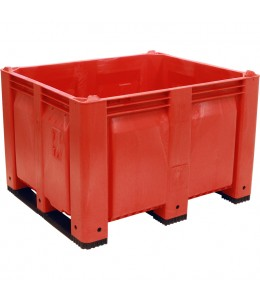 40 x 48 x 31 Solid Wall Container w/ Short Side Runners - Red - Red - OWS CP-S-40-F-SS-Red 40-x-48-x-31-solid-wall-container-bin-short-side-runners-red 40x48 - Standing