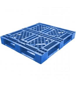 40 x 48 Mid-Duty Stackable 6 Runner Plastic FDA Pallet - Blue - Plasgad PG140 Blue OWS PP-O-40-S-140-Blue Repose Top