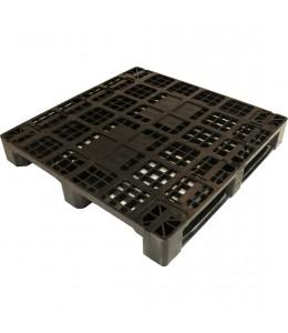 43 x 43 Rackable Stackable Plastic Pallet - Black - 3 Runners - DIRML9001 - PP-O-4343-R1.3R-Black Repose Top