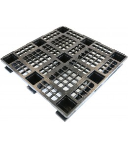 43 x 43 Stackable Plastic Pallet w_ Safety Lip - 3 Runners - Black - OWS PP-O-4343-SM9 Plasgad Pallet 1111 + 3 Runners - Repose Top