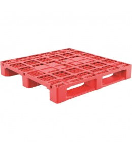 43 x 43 Rackable Stackable Plastic Pallet w/Metal Rods - Red - 3 Runners - DARML4001 - PP-O-4343-R1.3R.003-Red Repose Top