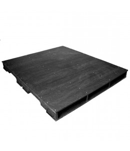 44 x 44 Stackable Solid-Deck Plastic Pallet - Black - PPC ppc4444-3 OWS PP-S-4444-RC Repose Top