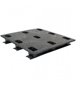 45 x 45 Stackable Solid Deck Plastic Pallet w/ 3 Runners - Assembled - Black - OWS PP-S-4545-SG.3R CTC 4545-CTC-C-45R-SW - Repose Top