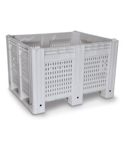 40 x 48 x 31 Vented Plastic Container Bin - 3 Runners - Grey
