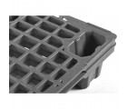 24 x 32 Nestable Plastic Semi Pallet - Black - OWS PP-O-24-NL2 Plasgad DI2209001 PG220 Semi Pallet Black - Repose Top Stacked Closeup