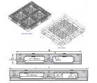 40 x 48 Heavy Duty Rackable Plastic Pallet w/ 5 Fiberglass Reinforcing Rods + Freezer Additive + Fire Retardant GS.48.40.005-FR-FA PP-O-40-R2.005-FR-FA Line Drawing