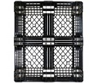 40 x 48 Mid-Duty Stackable Plastic Pallet - Black - Plasgad PG140 OWS PP-O-40-S-140 Standing Top Head On