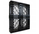 40 x 48 Mid-Duty Stackable Plastic Pallet - Black - Plasgad PG140 OWS PP-O-40-S-140 Standing 3/4