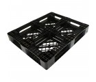 40 x 48 Mid-Duty Stackable Plastic Pallet - Black - Plasgad PG140 OWS PP-O-40-S-140 Repose Bottom
