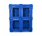40 x 48 Rackable Plastic FDA Approved Solid Plastic Pallet - Blue - Polymer Solutions 8301 OWS PP-S-40-R7FDA-Blue Standing bottom head on