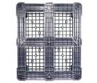 40 x 48 Rackable Plastic FDA Pallet - Grey - Polymer Solutions DLR OWS PP-O-40-R7FDA-Grey Standing Bottom HeadOn