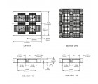 40 x 48 Rackable Ventilated Plastic Pallet - Black - Polymer Solutions DLR Black OWS PP-O-40-R7FM-Black Technical Drawing