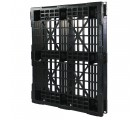40 x 48 Rackable / Stackable Mid-Duty 6 Runner Plastic Pallet With Lip - Assembled - Black - OWS PP-O-40-RX7A-L Standing
