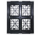 40 x 48 Rackable / Stackable Mid-Duty 6 Runner Plastic Pallet With Lip - Assembled - Black - OWS PP-O-40-RX7A-L Standing Bottom