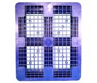 40 x 48 Rackable Ventilated Plastic Pallet - Blue - Polymer Solutions DLR Blue OWS PP-O-40-R7FM-Blue Standing Top HeadOn