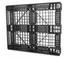 40 x 48 Stackable FDA Approved Plastic Pallet - Black - Polymer Solutions ProGenic-LD OWS PP-O-40-S4FDA-Black Standing 3-4