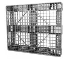 40 x 48 Stackable FDA Approved Plastic Pallet - Grey - Polymer Solutions ProGenic-LD OWS PP-O-40-S4FDA-Grey Standing 3-4