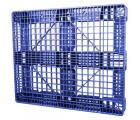 40 x 48 Stackable Fire Retardant Plastic Pallet - Blue -Polymer Solutions ProGenic-LD OWS PP-O-40-S4FM-Blue Standing 3-4