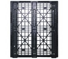 40 x 48 Stackable Mid-Duty 3 Runner Plastic Pallet With Safety Lip - Assembled - Black - OWS PP-O-40-SM7-L - Headon Bottom