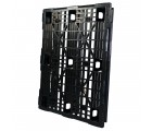 40 x 48 Stackable Mid-Duty 3 Runner Plastic Pallet With Safety Lip - Assembled - Black - OWS PP-O-40-SM7A-L - Standing