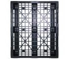 40 x 48 Stackable Mid-Duty 3 Runner Plastic Pallet With Safety Lip - Assembled - Black - OWS PP-O-40-SM7-L - Headon Top