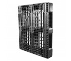 40 x 48 Stackable Rackable Plastic Pallet - Black With Metal Reinforcing Rods- CABKA Eco US5 (OD-6R-M) OWS PP-O-40-ECO1-M standing 3_4