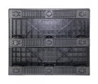 40 x 48 Stackable Solid Deck Plastic Pallet w/ 3 Runners - Assembled - Black - OWS PP-S-4048-SG.3R CTC 4840-CTC-C-48-R - Standing Bottom HeadOn