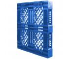 40 x 48 Mid-Duty Stackable 6 Runner Plastic FDA Pallet - Blue - Plasgad PG140 Blue OWS PP-O-40-S-140-Blue 34 Standing