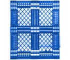 40 x 48 Mid-Duty Stackable 6 Runner Plastic FDA Pallet - Blue - Plasgad PG140 Blue OWS PP-O-40-S-140-Blue Standing Bottom