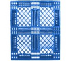 40 x 48 Stackable 6 Runner Plastic FDA Pallet - Blue - Plasgad PG140 Blue OWS PP-O-40-S-140-Blue Standing Top