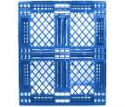40 x 48 Mid-Duty Stackable 6 Runner Plastic FDA Pallet - Blue - Plasgad PG140 Blue OWS PP-O-40-S-140-Blue Standing Top