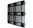 43.3 x 43.3 Nestable Plastic Pallet w/ Safety Lip - Medium Duty - Black - OWS PP-O-4343-NM9 Plasgad PG1111-7 - Standing