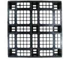 43.3 x 43.3 Nestable Plastic Pallet w/ Safety Lip - Medium Duty - Black - OWS PP-O-4343-NM9 Plasgad PG1111-7 - Standing Top Headon