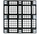 43.3 x 43.3 Nestable Plastic Pallet w/ Safety Lip - Medium Duty - Black - OWS PP-O-4343-NM9 Plasgad PG1111-7 - Standing Bottom Headon