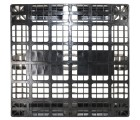 43 x 43 Rackable Stackable Plastic Pallet - Black - 3 Runners - DIRML9001 - PP-O-4343-R1.3R-Black Top Head On