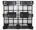 43 x 43 Rackable Stackable Plastic Pallet - Black - 3 Runners - DIRML9001 - PP-O-4343-R1.3R-Black Bottom Head On