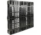 43 x 43 Rackable Stackable Plastic Pallet - Black - 3 Runners - DIRML9001 - PP-O-4343-R1.3R-Black Standing 3/4